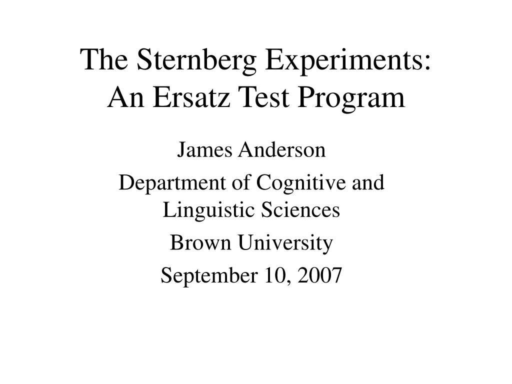 the sternberg experiments an ersatz test program l.