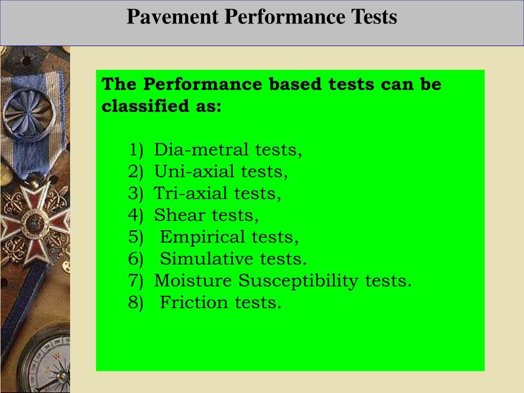 Pavement Performance Tests