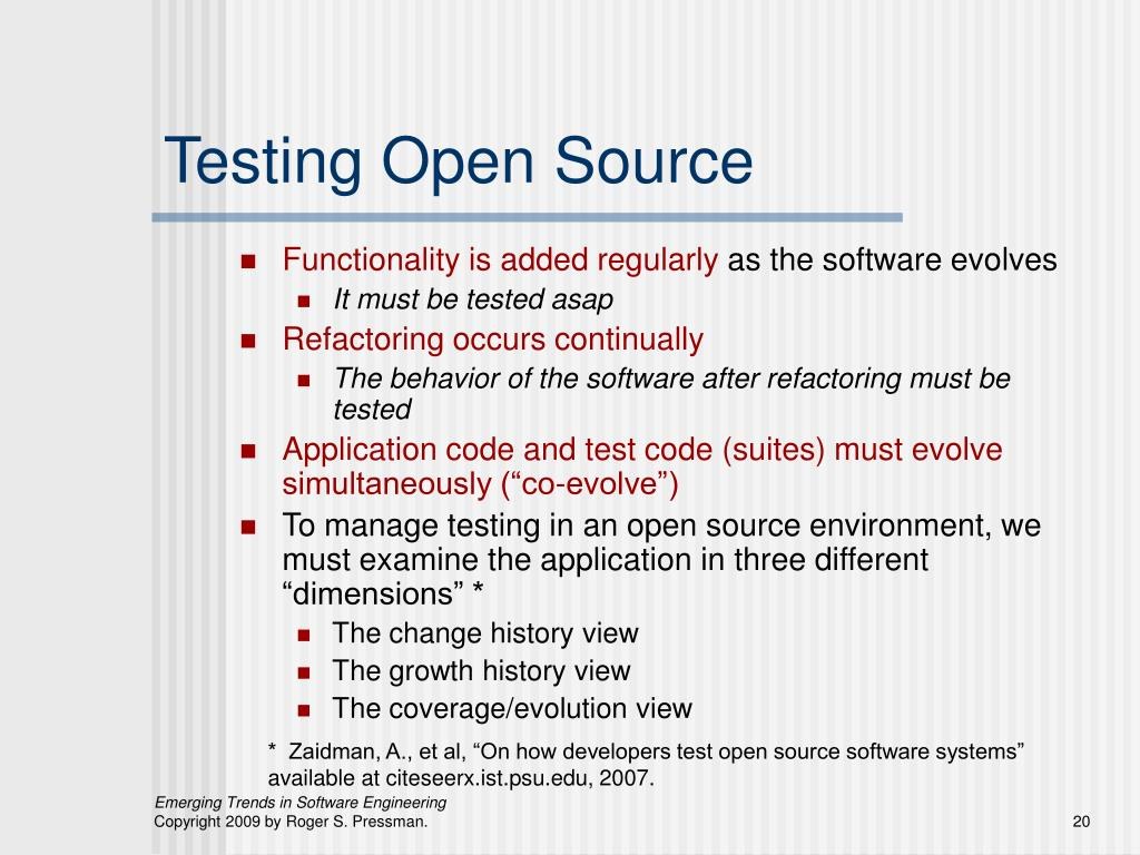 Testing Open Source