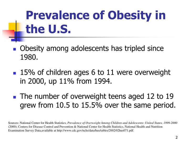 Prevalence of obesity in the u s