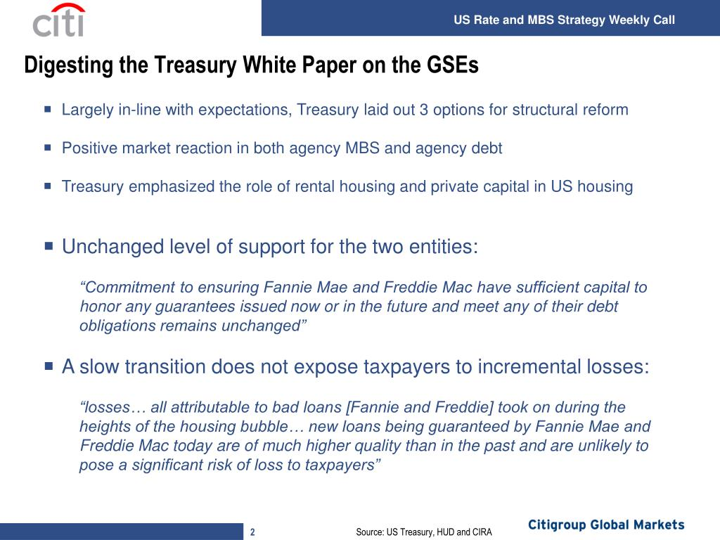 Digesting the Treasury White Paper on the GSEs