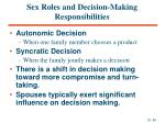 sex roles and decision making responsibilities