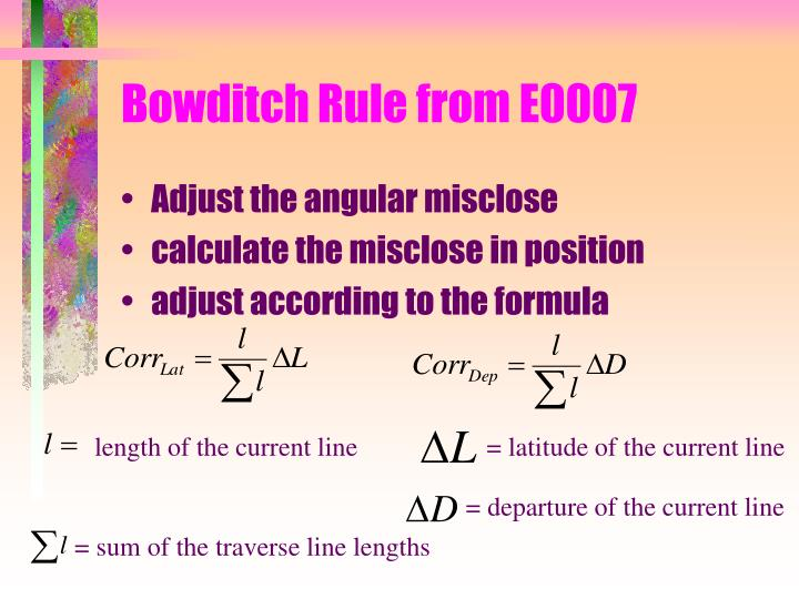 Bowditch rule from e0007