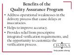 benefits of the quality assurance program1