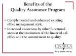 benefits of the quality assurance program3