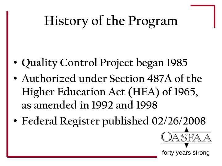History of the program