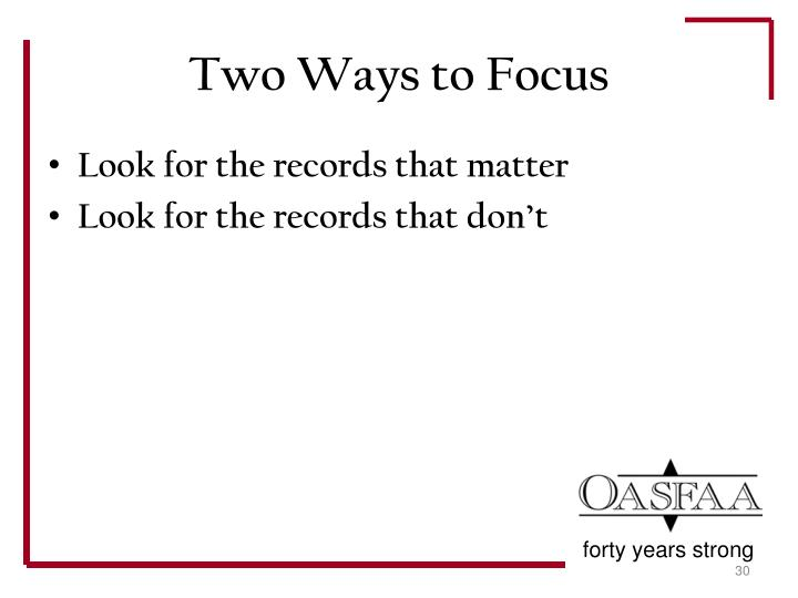 Two Ways to Focus