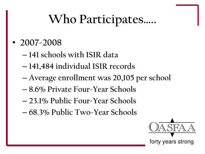 Who Participates…..