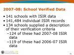 2007 08 school verified data
