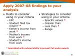 apply 2007 08 findings to your analysis