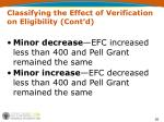 classifying the effect of verification on eligibility cont d