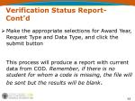 verification status report cont d