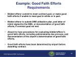 example good faith efforts requirements