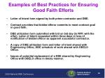 examples of best practices for ensuring good faith efforts
