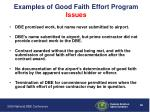 examples of good faith effort program issues