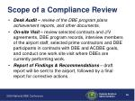 scope of a compliance review