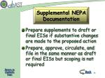 supplemental nepa documentation