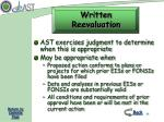 written reevaluation