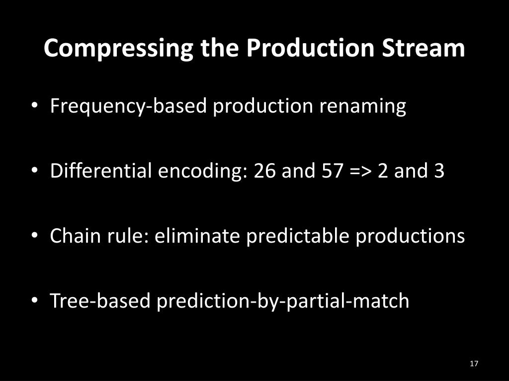 Compressing the Production Stream