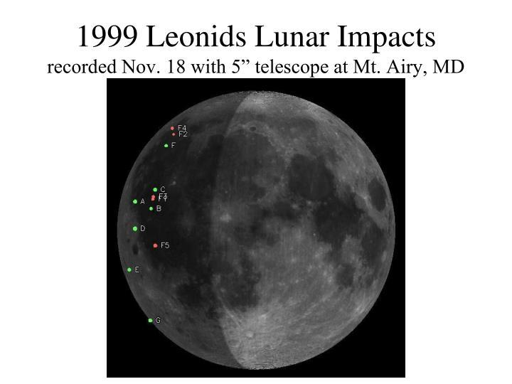1999 Leonids Lunar Impacts