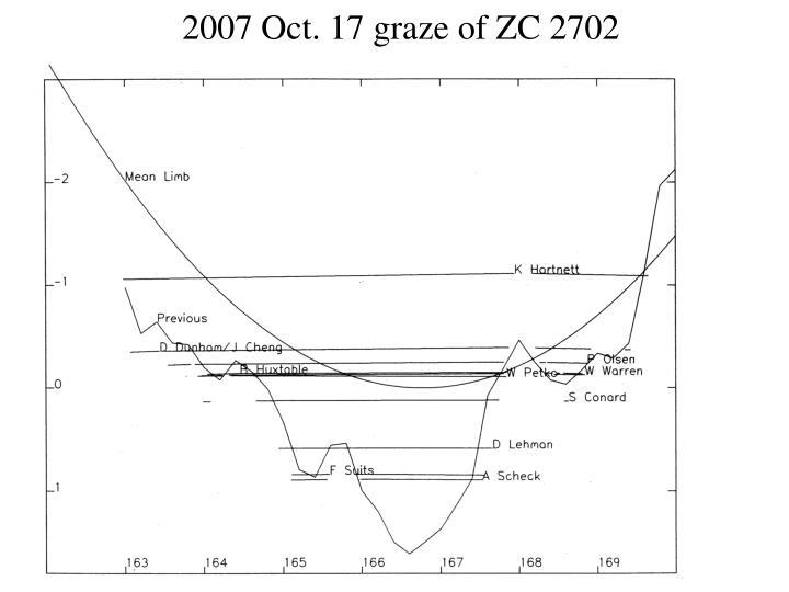 2007 Oct. 17 graze of ZC 2702