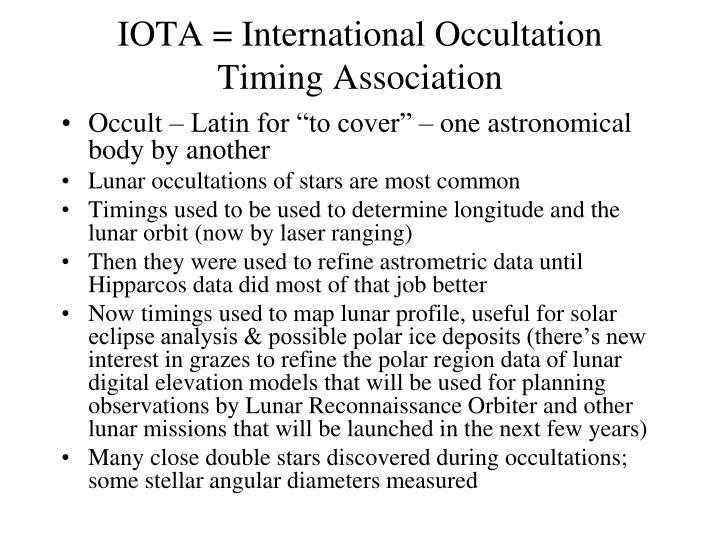 IOTA = International Occultation Timing Association