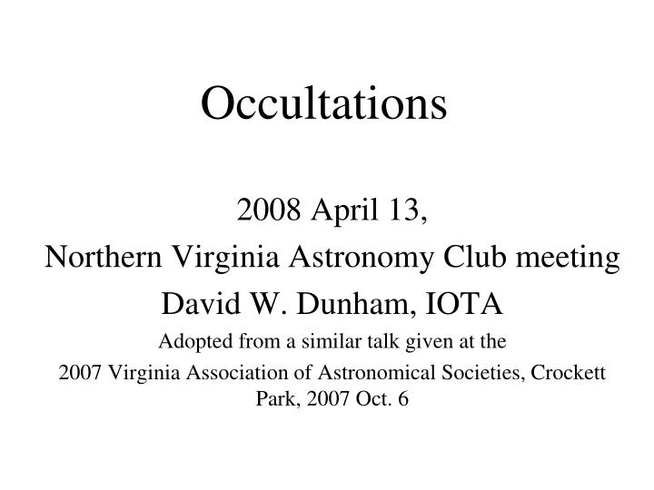 Occultations