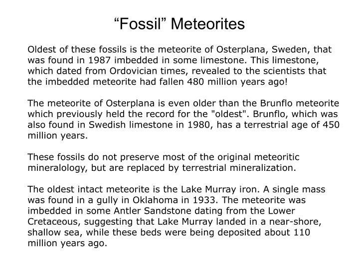 """""""Fossil"""" Meteorites"""