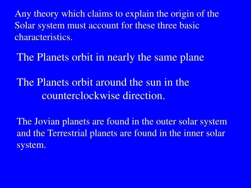 Any theory which claims to explain the origin of the