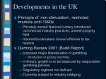 developments in the uk