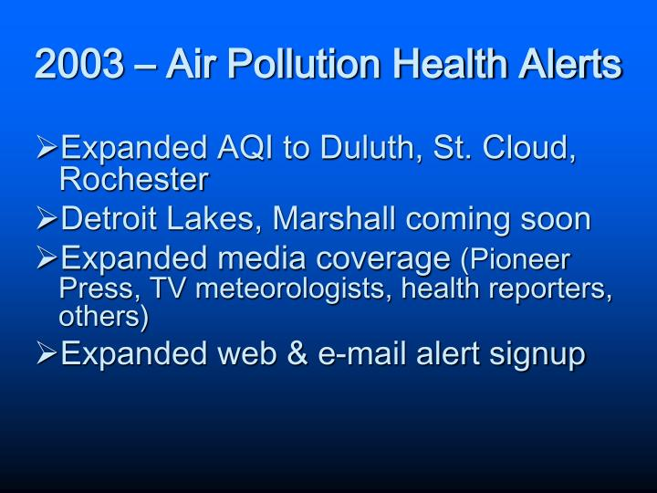 2003 – Air Pollution Health Alerts