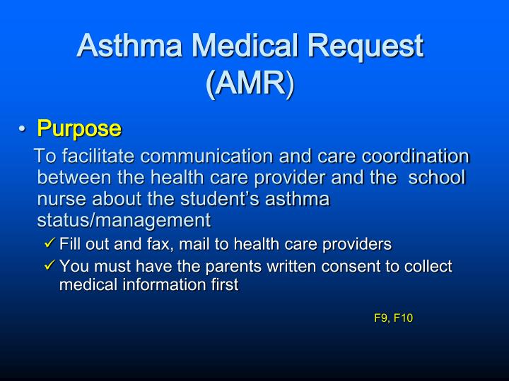 Asthma Medical Request (AMR