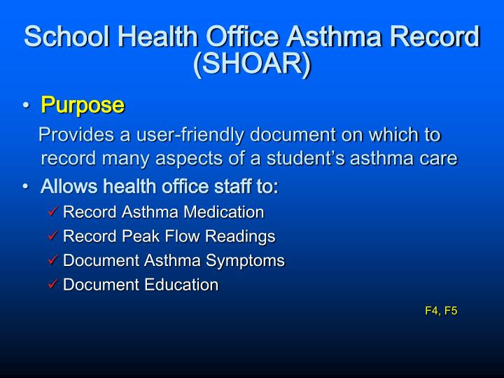 School Health Office Asthma Record (SHOAR)