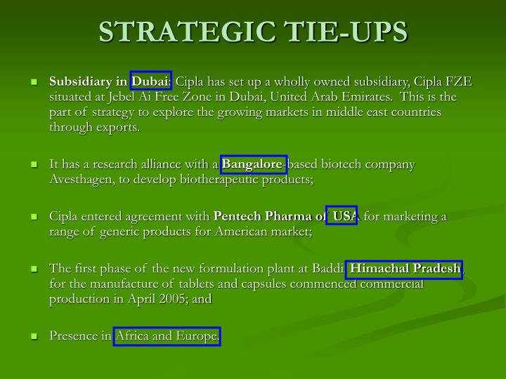 STRATEGIC TIE-UPS