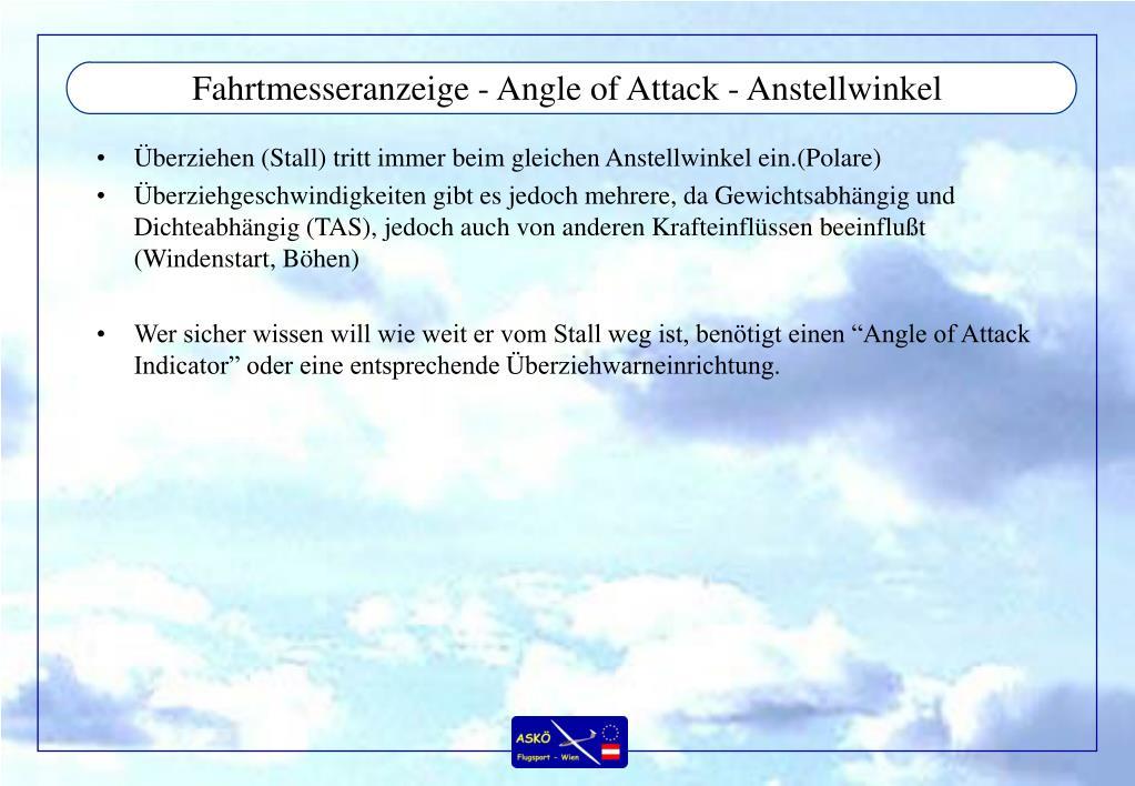 Fahrtmesseranzeige - Angle of Attack - Anstellwinkel