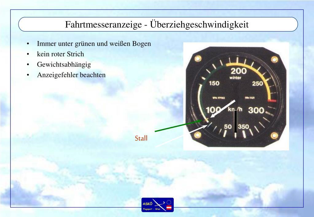 Fahrtmesseranzeige - Überziehgeschwindigkeit