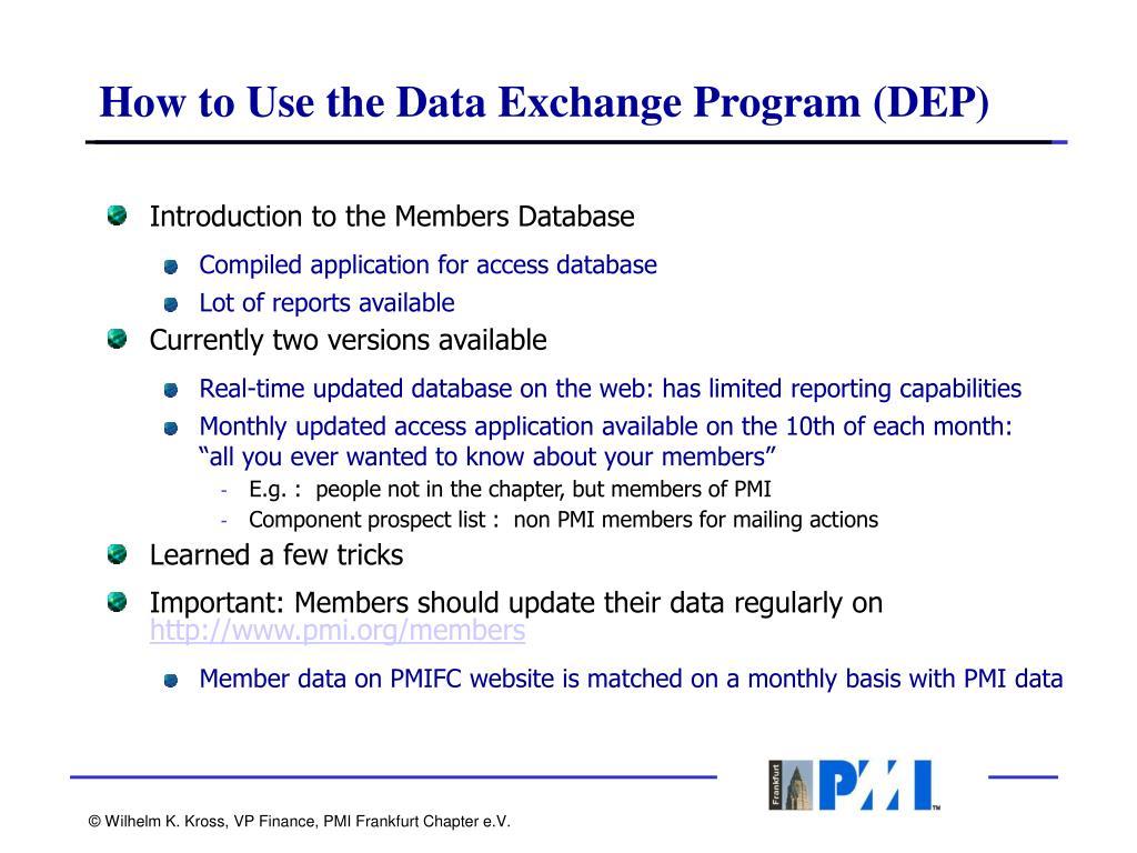 How to Use the Data Exchange Program (DEP)