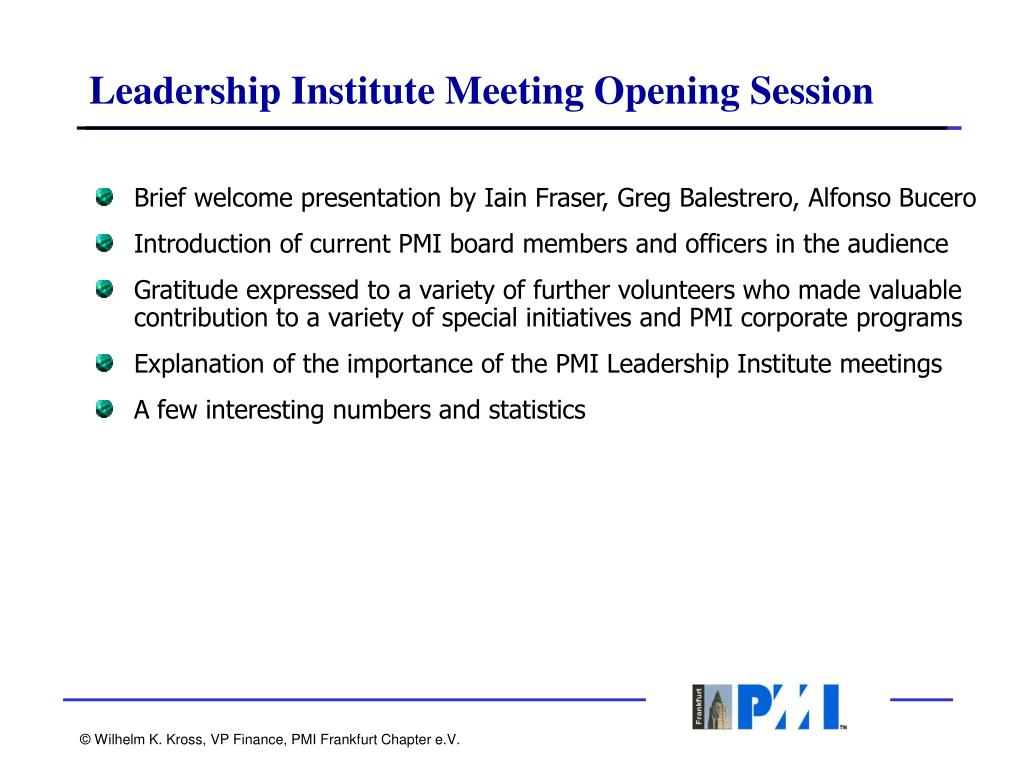 Leadership Institute Meeting Opening Session