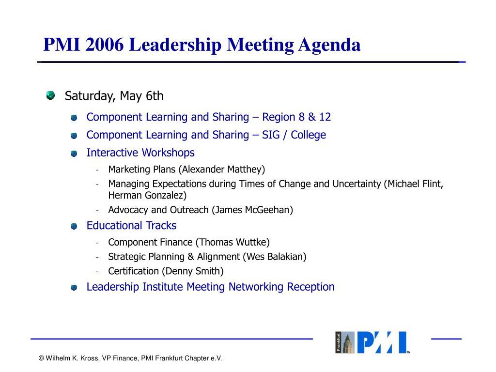 PMI 2006 Leadership Meeting Agenda
