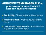 authentic team based plc s plan lessons or units t each assess adjust instruction