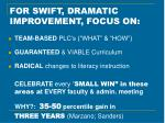 for swift dramatic improvement focus on