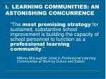 i learning communities an astonishing concurrence