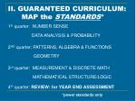 ii guaranteed curriculum map the standards