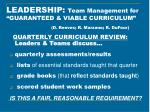 leadership team management for guaranteed viable curriculum d reeves r marzano r dufour