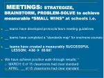 meetings strategize brainstorm problem solve to achieve measurable sma ll wins at schools i e