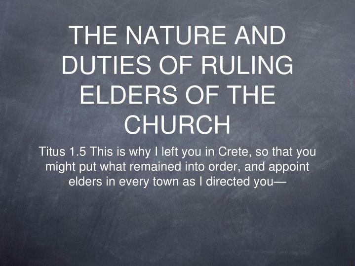the nature and duties of ruling elders of the church n.