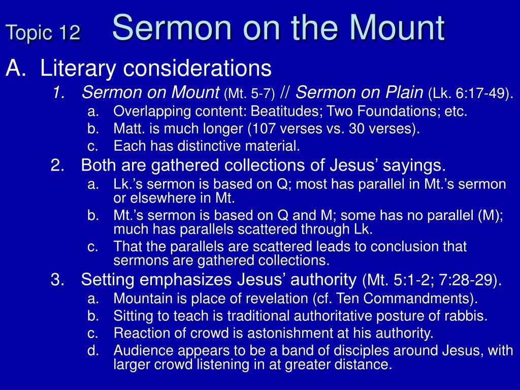 topic 12 sermon on the mount l.