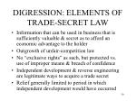 digression elements of trade secret law