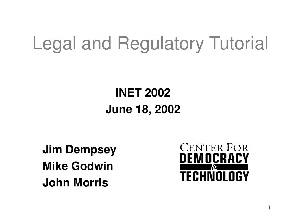 legal and regulatory tutorial l.