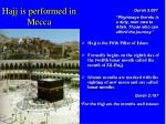 hajj is performed in mecca